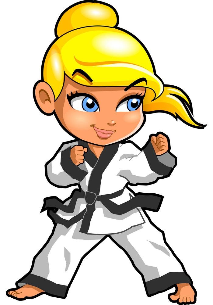 tae kwon do girl fighting pose