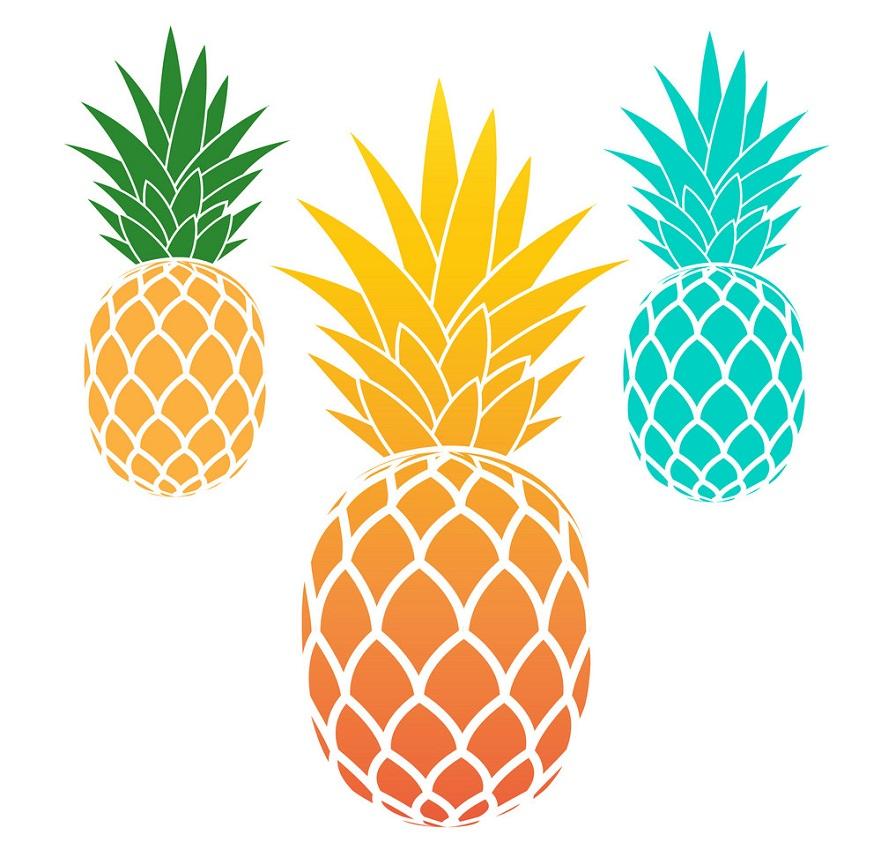 three pineapple
