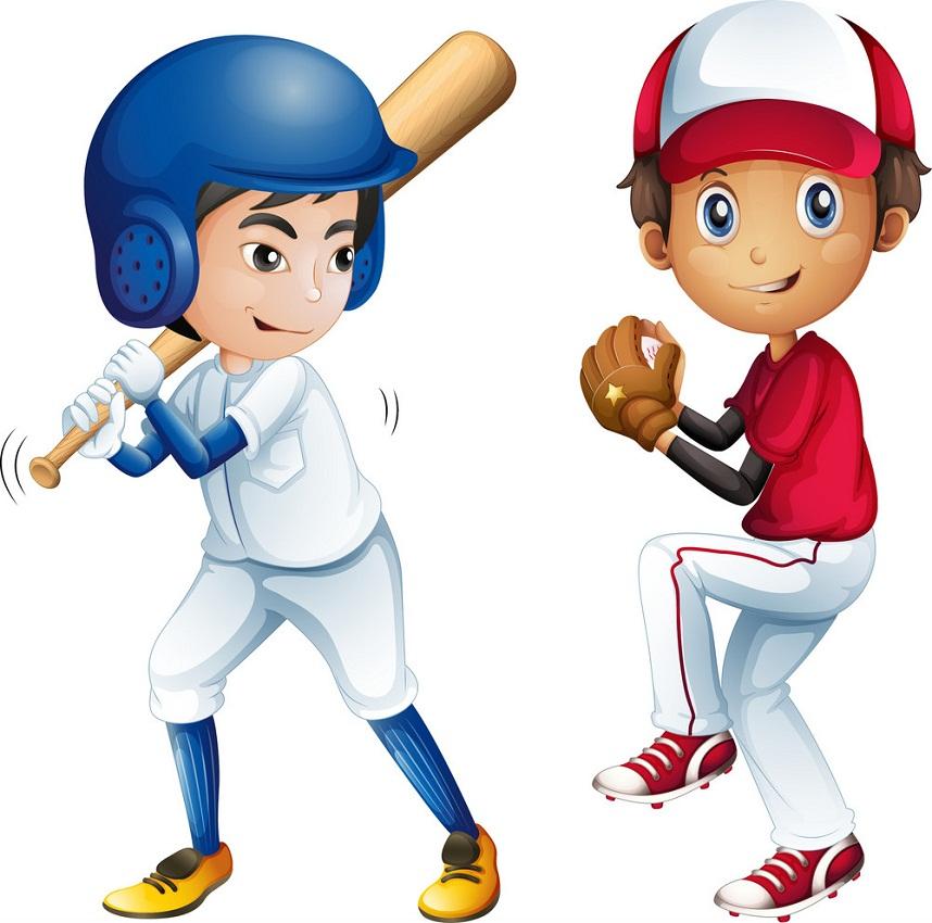 two boys playing baseball