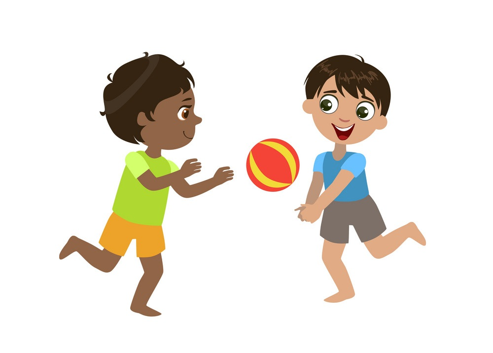 two boys playing volleyball