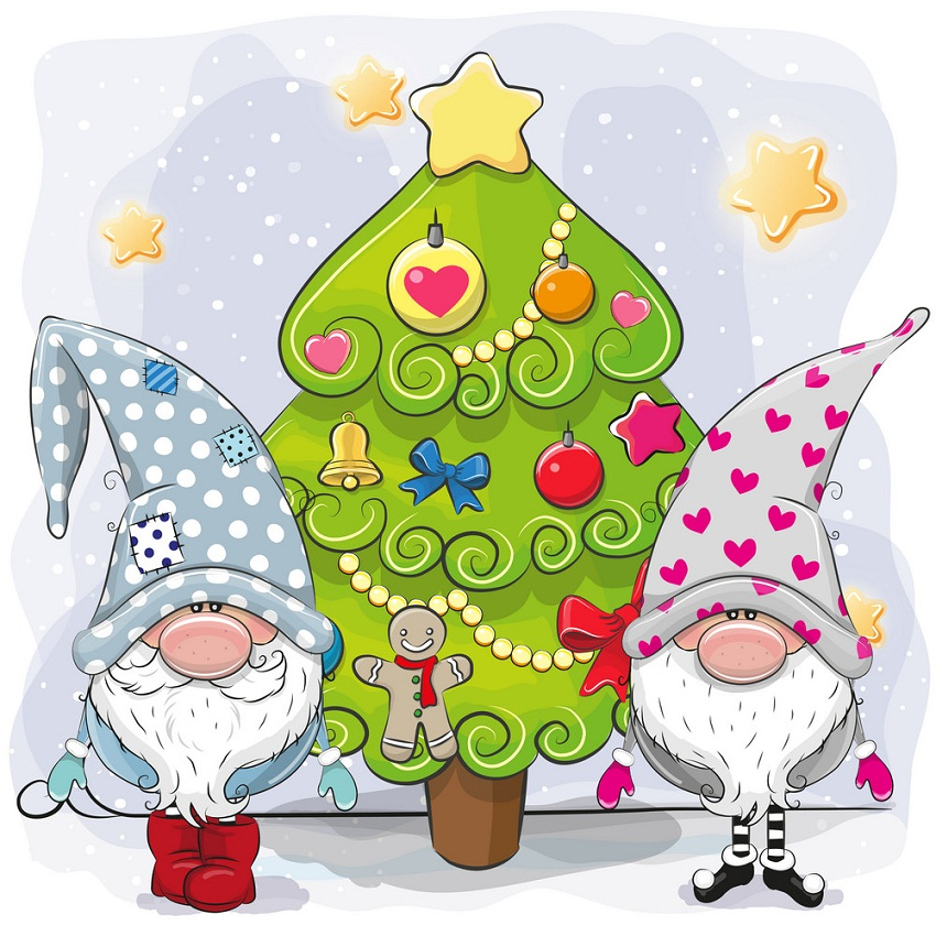 Two cute gnomes with christmas tree