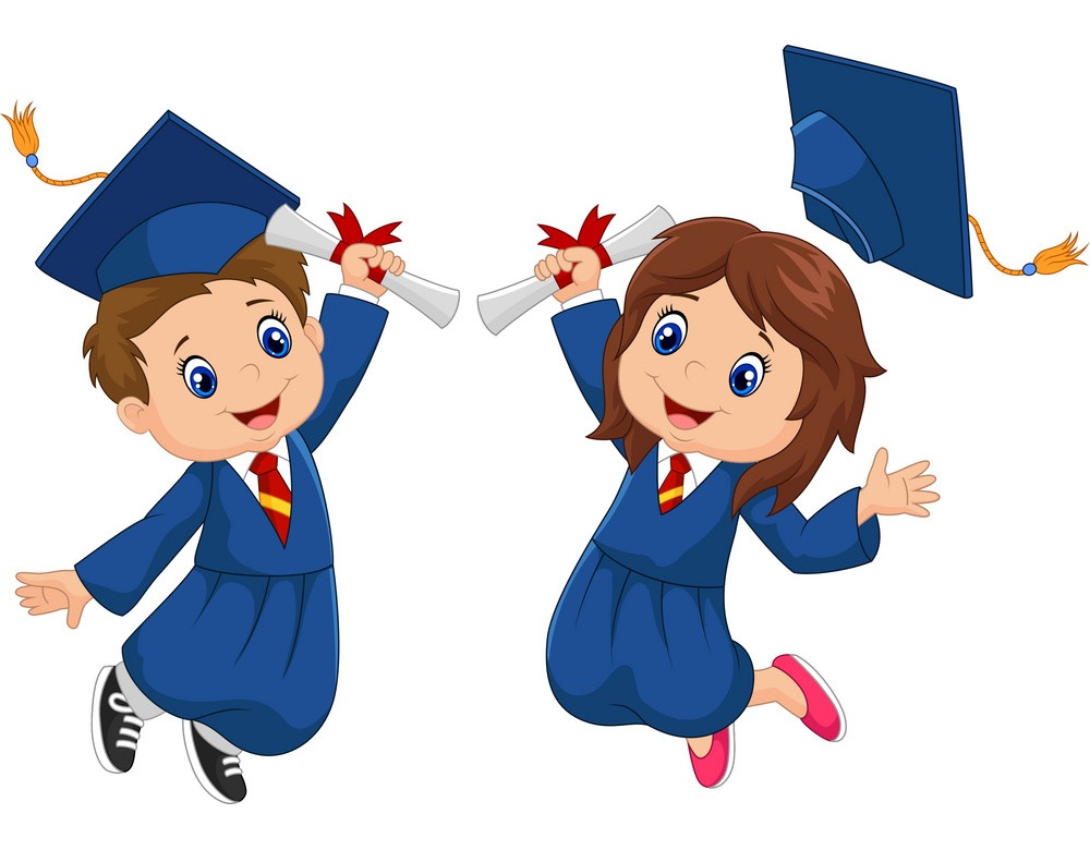 two graduate kids with diploma