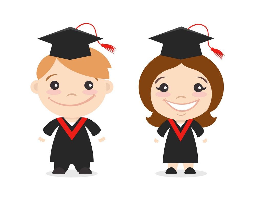 two graduate kids
