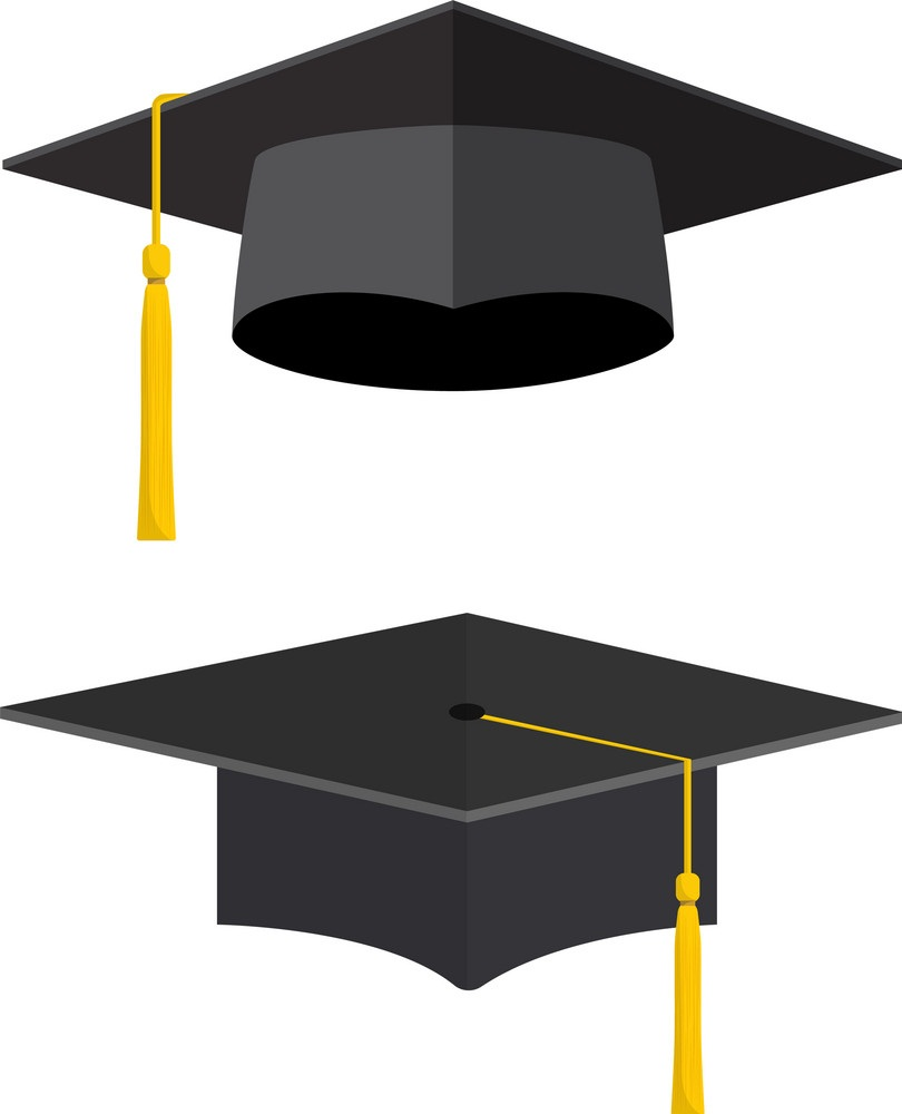 two graduation caps with yellow tassels