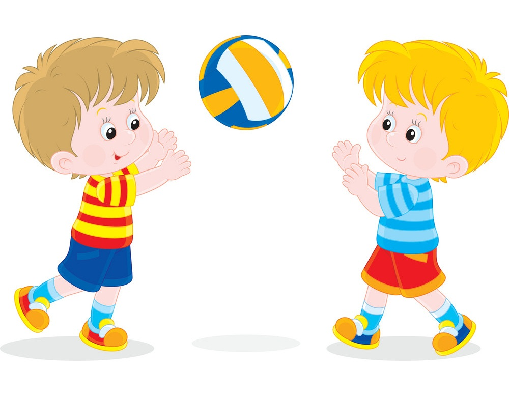two little boys playing volleyball