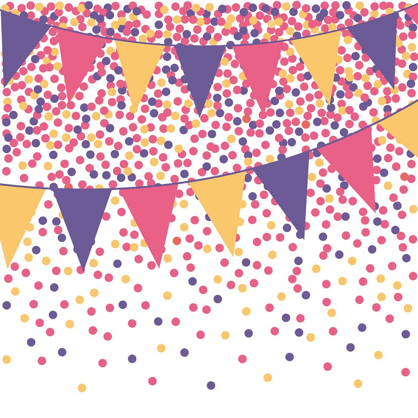 ultra violet bunting background with confetti