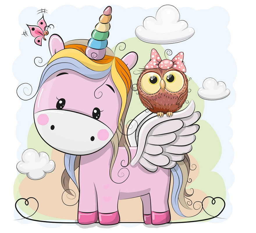 unicorn and lovely owl