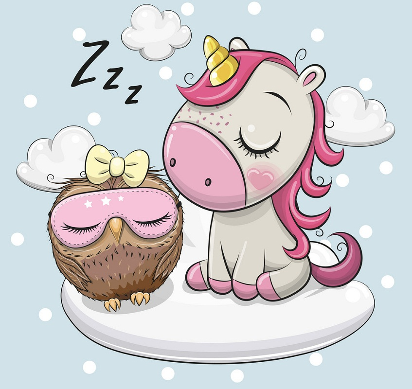 unicorn and owl sleeping