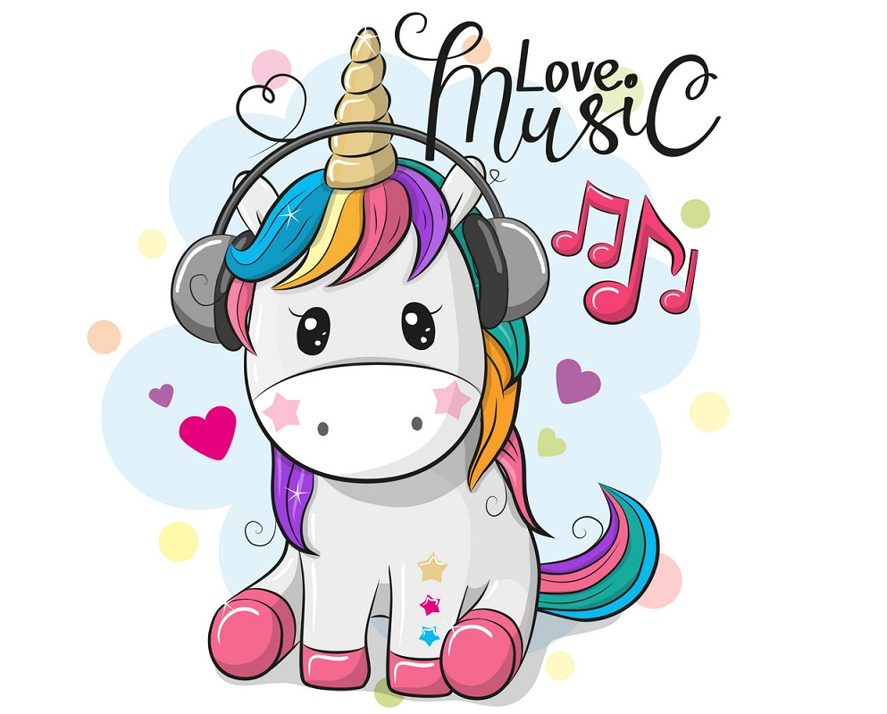 unicorn listening to music