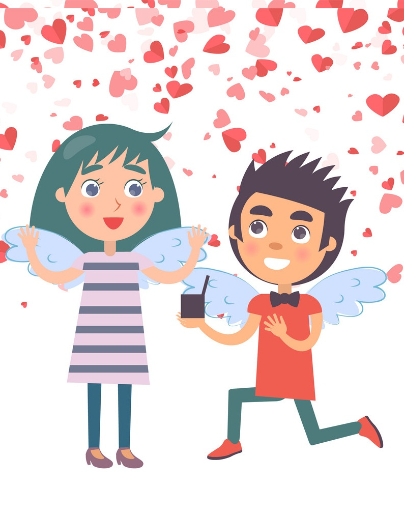 Valentine Boy Proposal Marriage to Woman