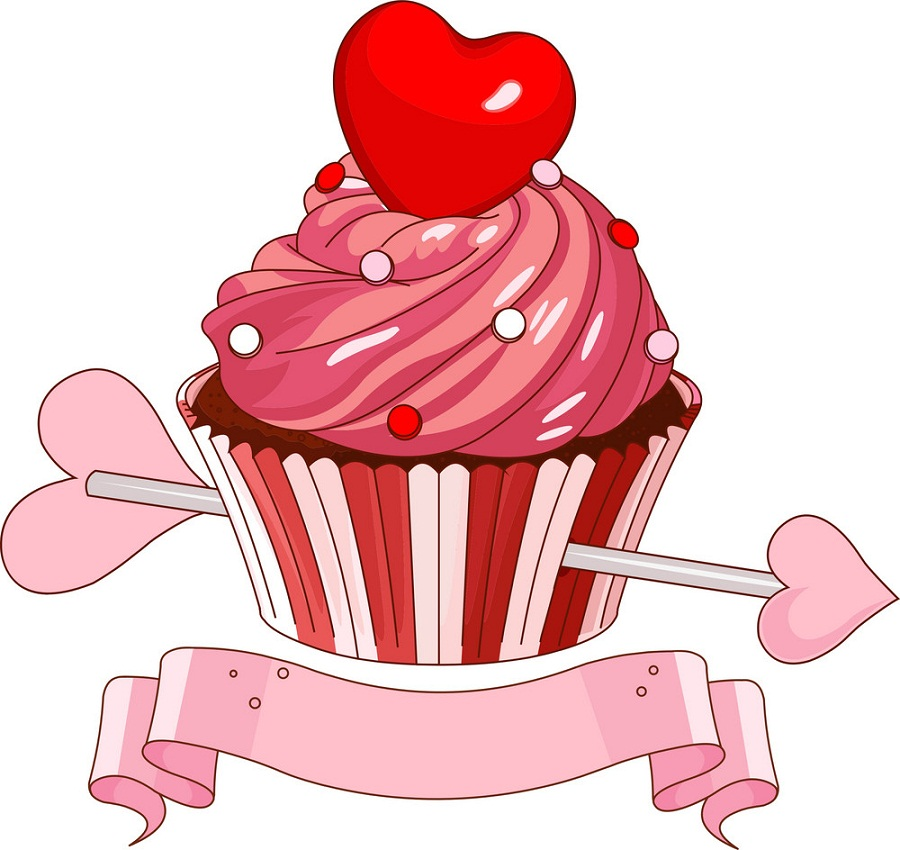 valentine cupcake with love arrow