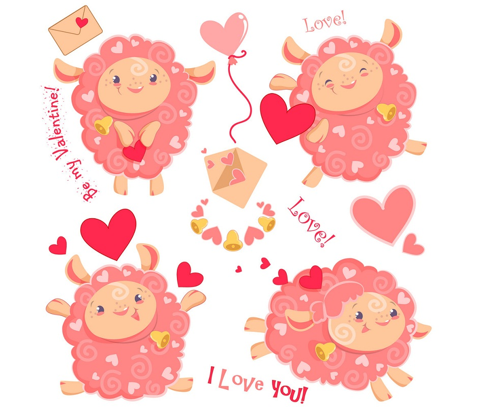 set of cute funny pink sheeps for valentine