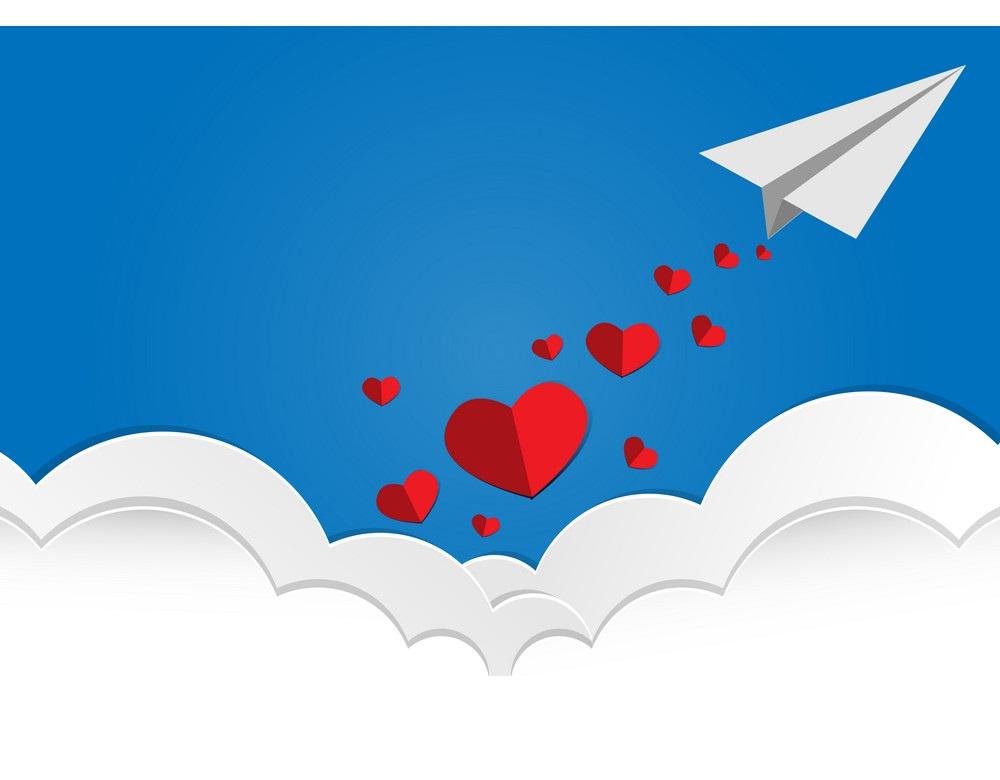 valentine day paper airplane
