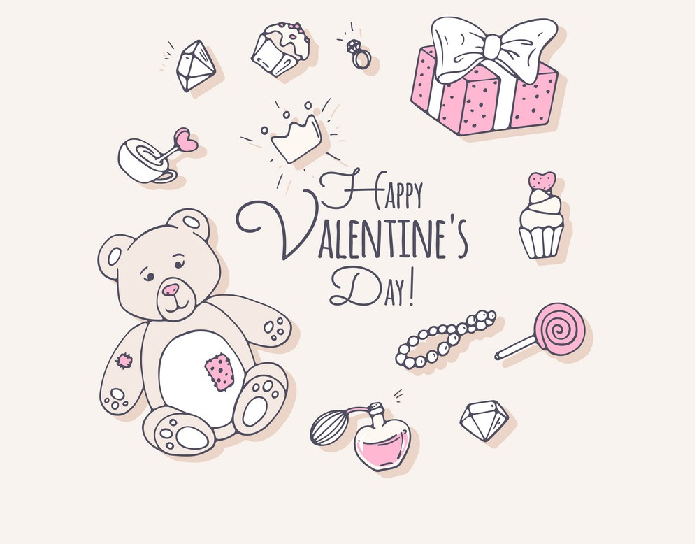 valentines day hand drawn clip art