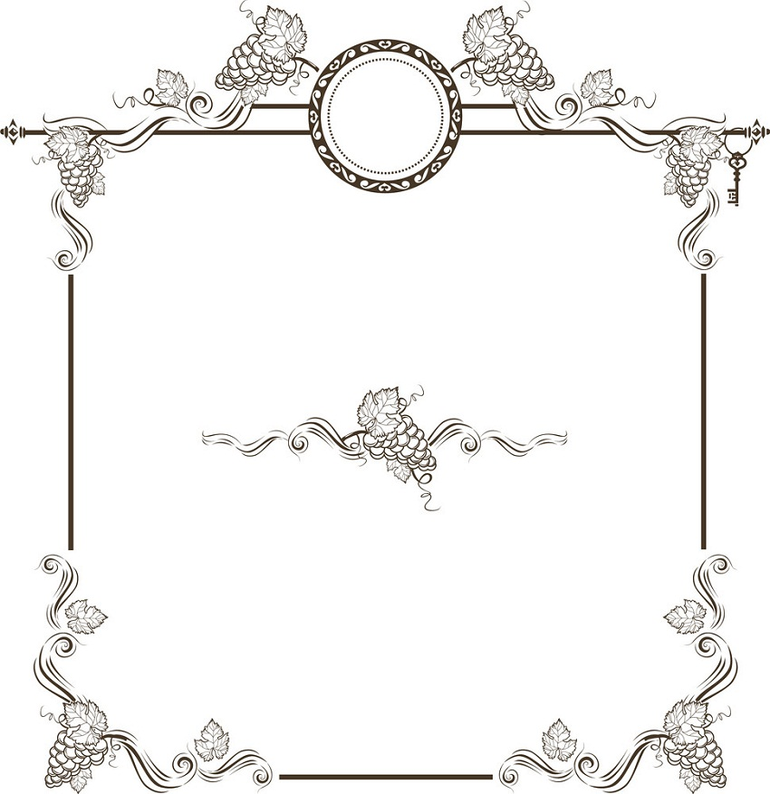 vintage frame with grapes