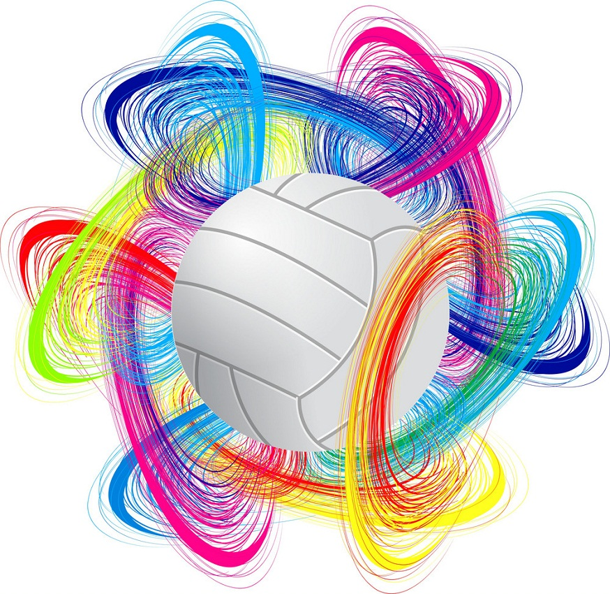 volleyball ball with colorful background