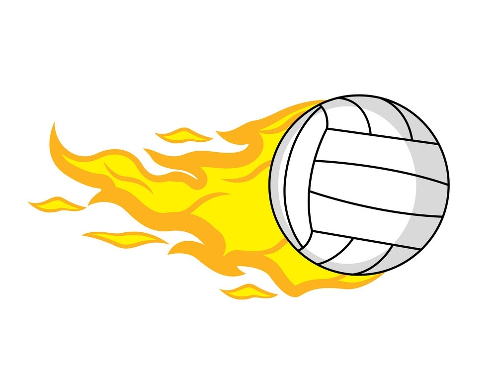 volleyball ball with fire effect