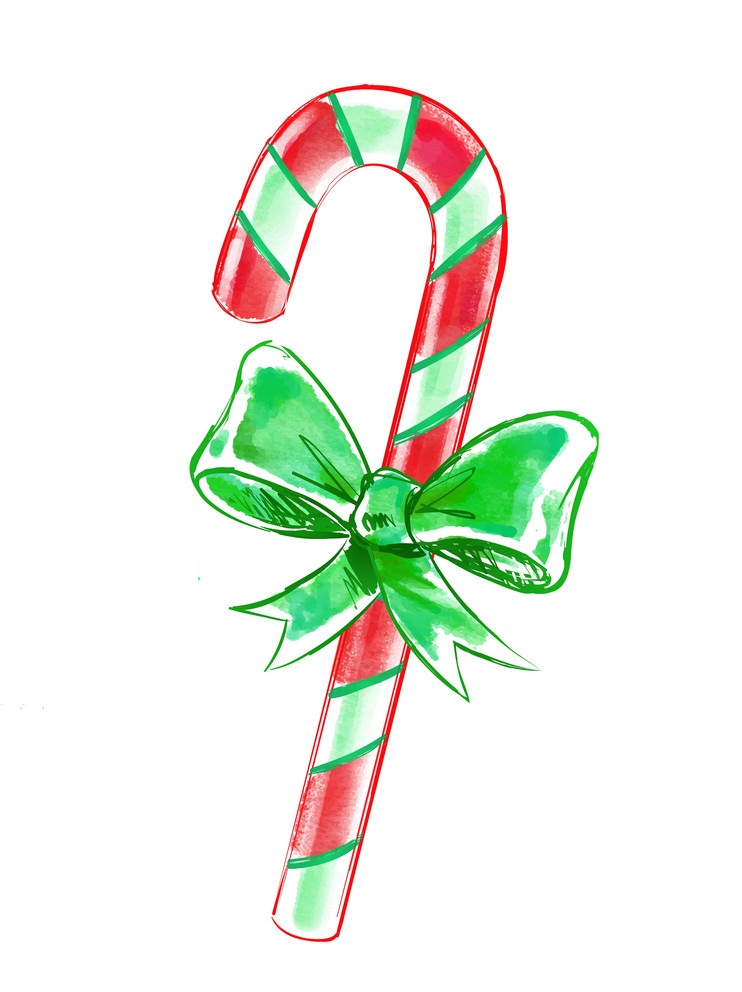 watercolor candy cane