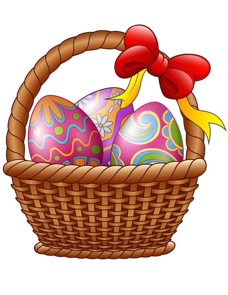 wicker basket with decorated easter eggs