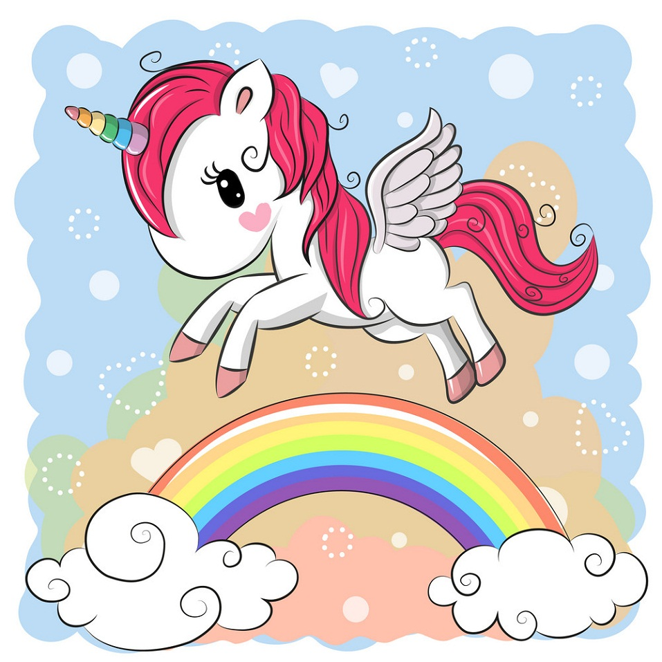 winged unicorn with rainbow