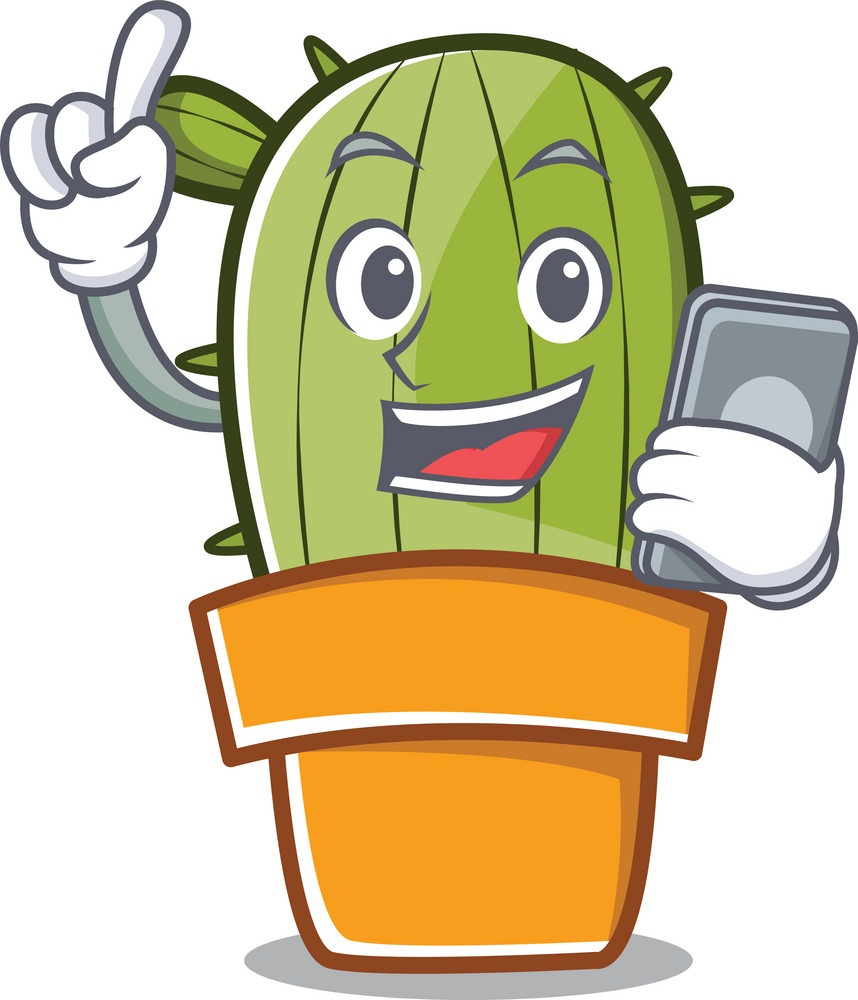 smiling cactus with smartphone