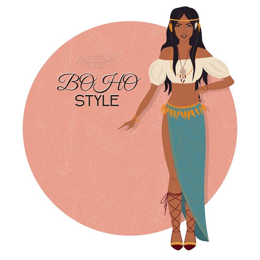 Boho Girl Clipart