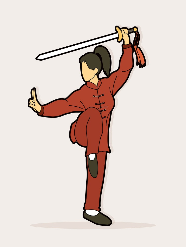 woman with sword in fighting pose