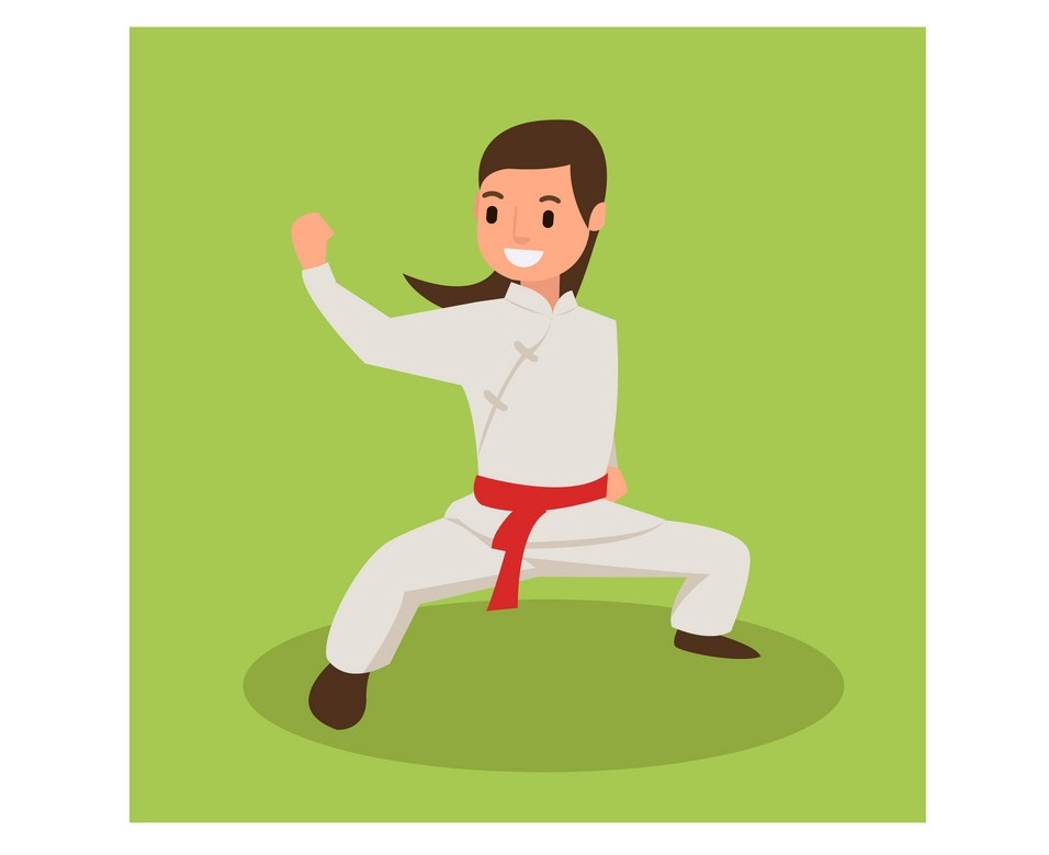 women with karate fight poses