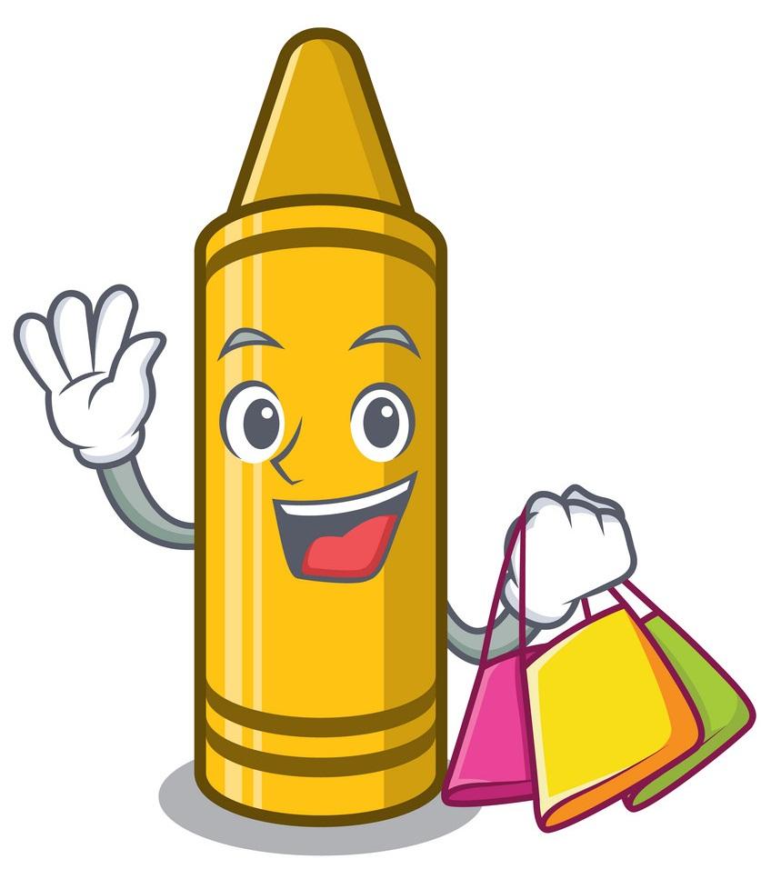 yellow crayon go shopping