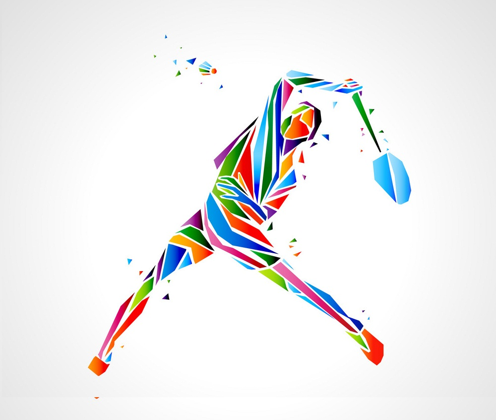 abstract badminton player