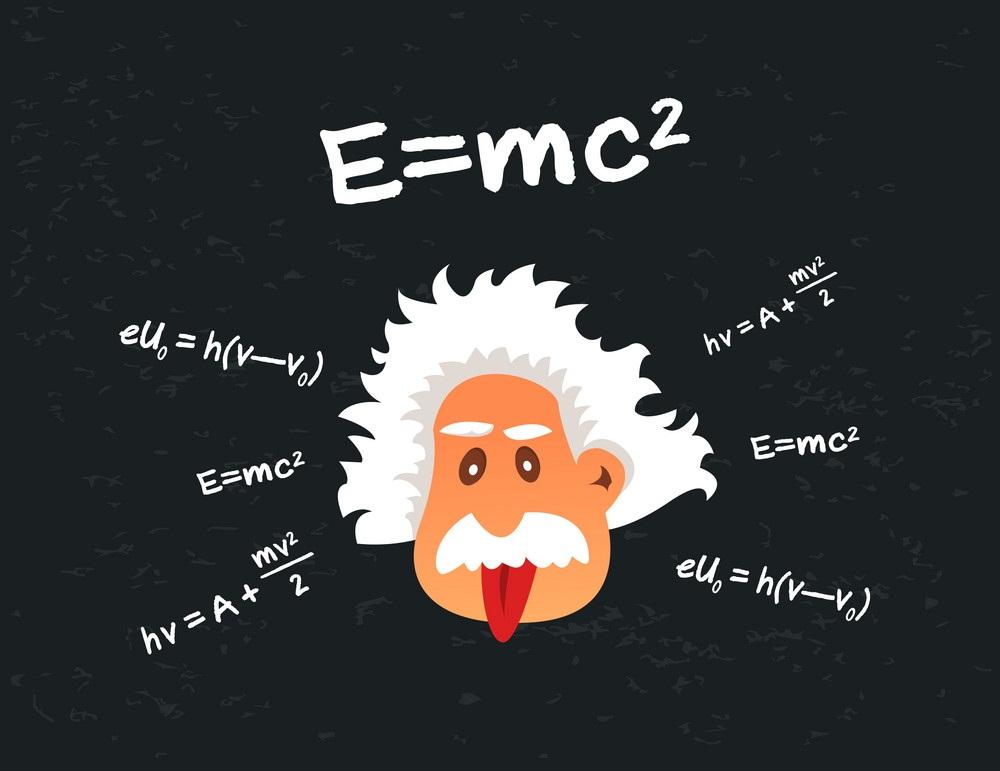albert einstein with formulas