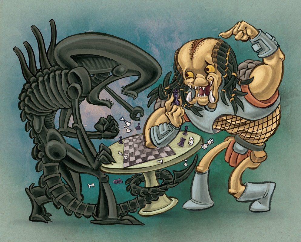 alien and predator playing chess