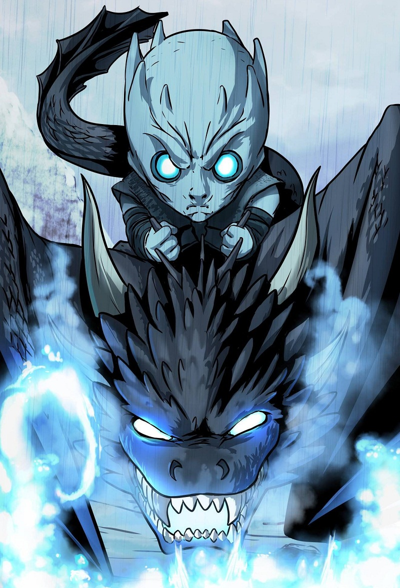 angry night king and dragon