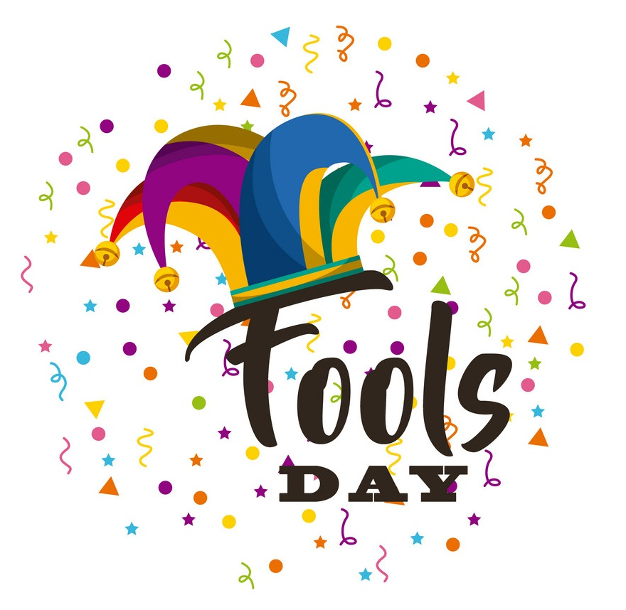april fool's day with hat and confetti