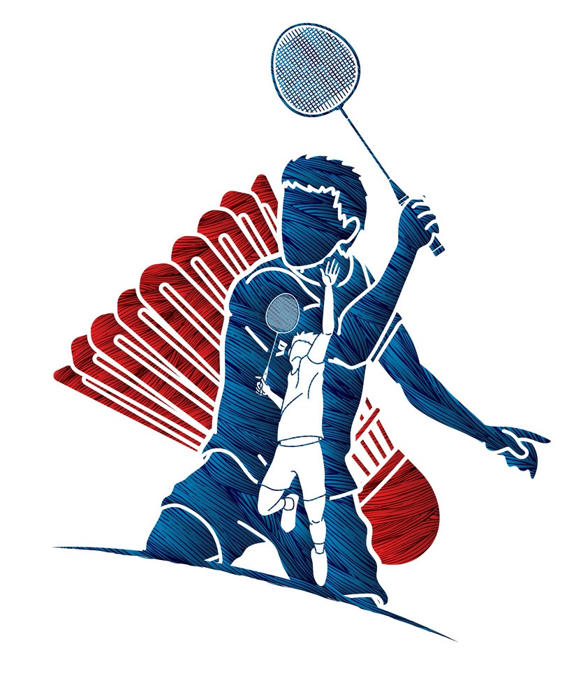 badminton player action graphic