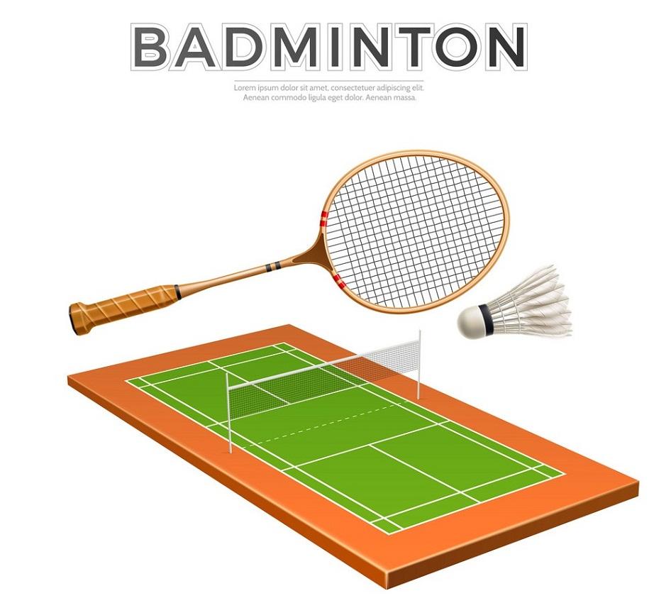 badminton racket, shuttlecock and court