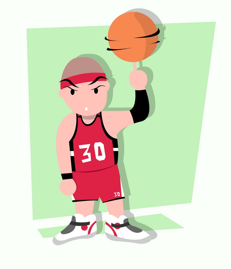 basketnall player with spinning ball