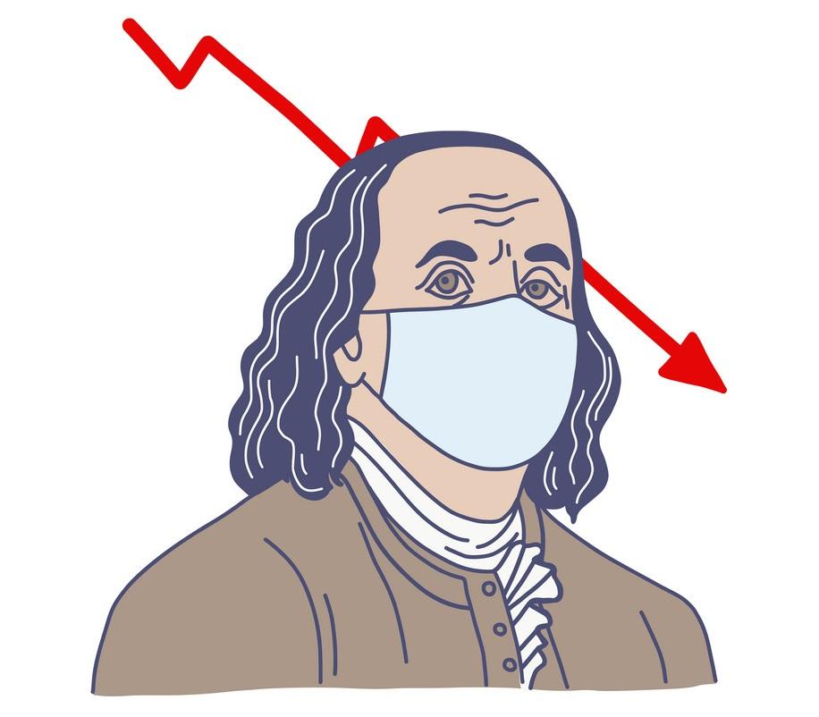 ben franklin in medical mask 1