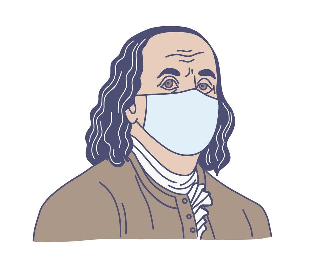 ben franklin in medical mask