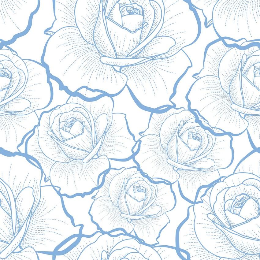 blue roses outline