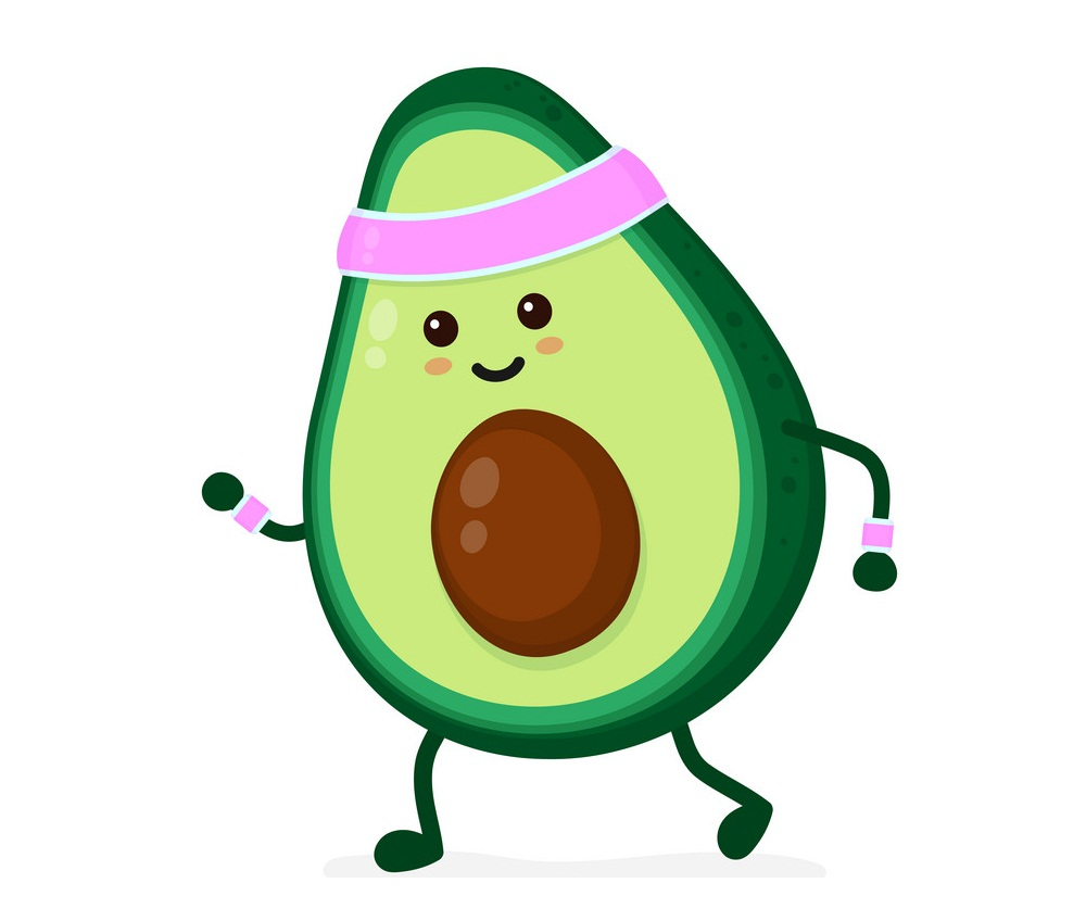cartoon avocado doing exercise