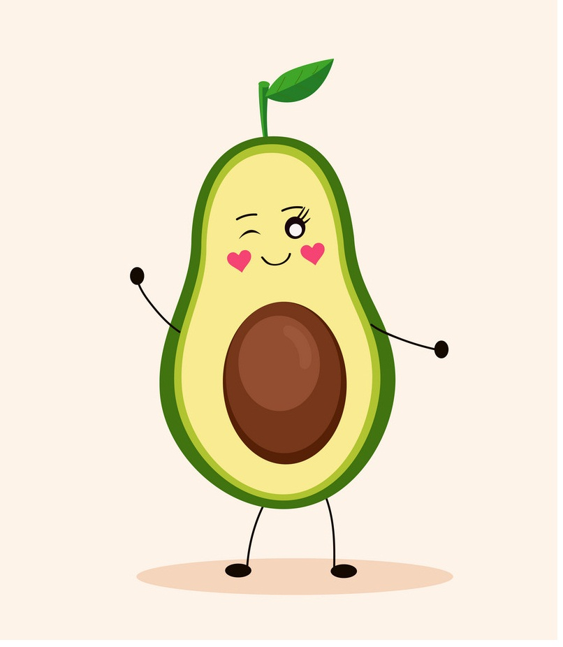 cartoon avocado girl