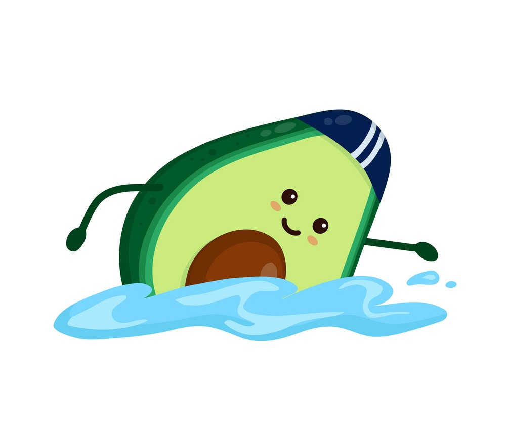 cartoon avocado swimming