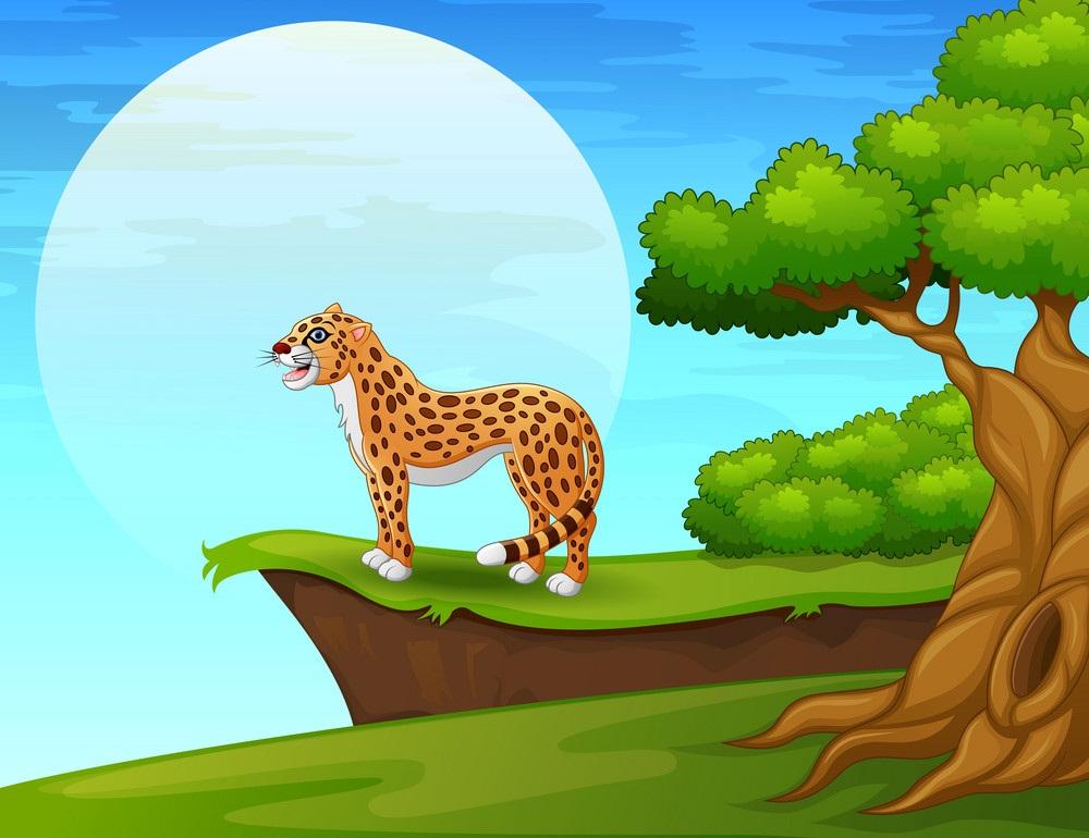 cartoon cheetah near the cliff