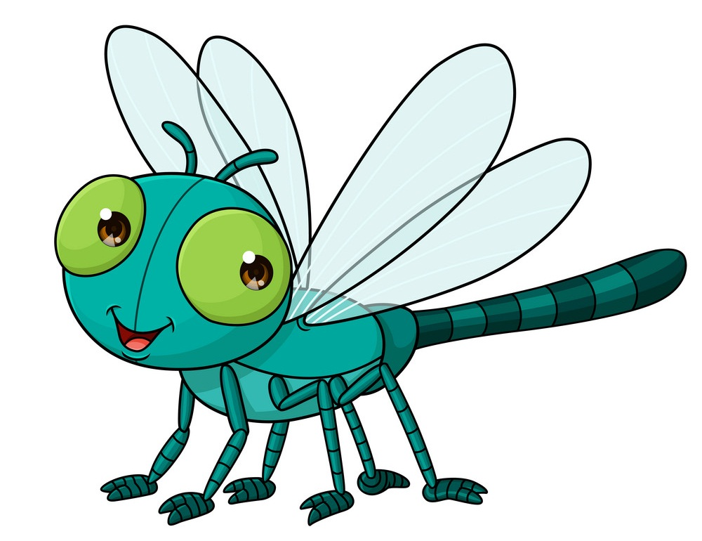 cartoon dragonfly smiling