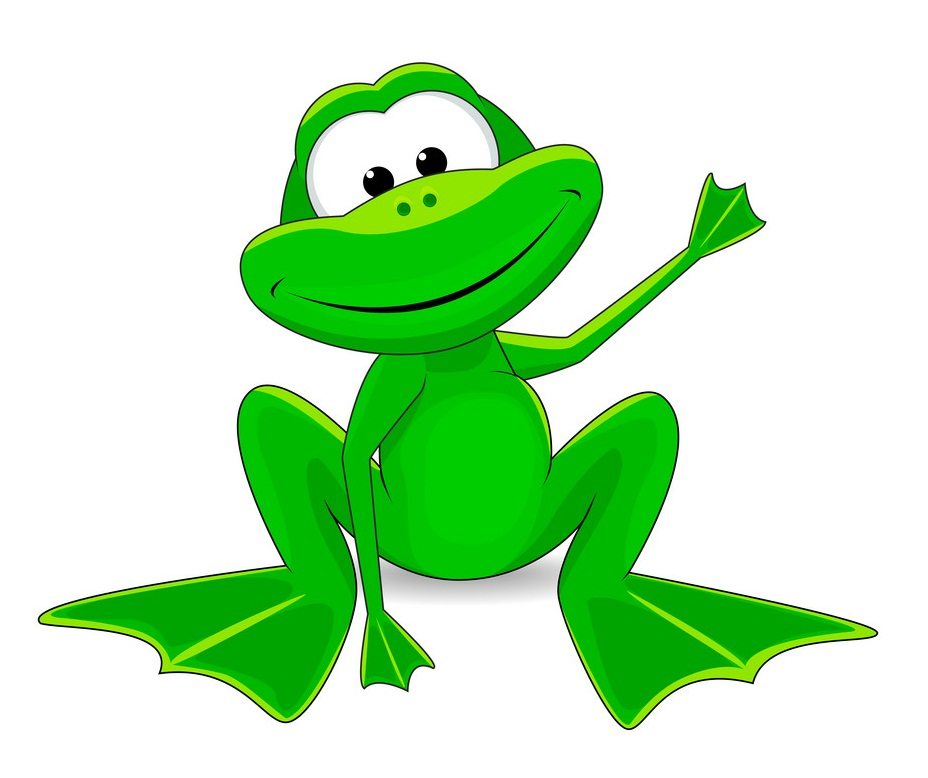 cartoon frog waving hand