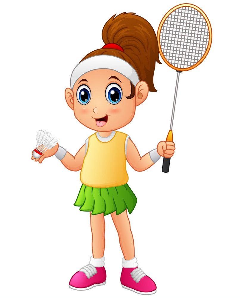 cartoon girl playing badminton