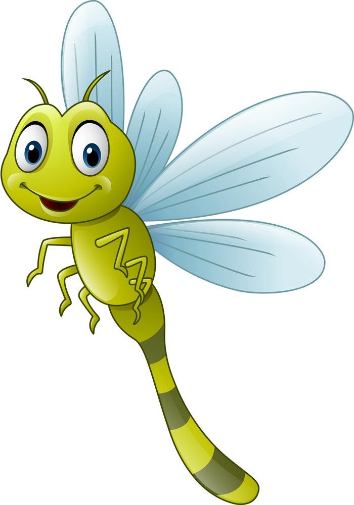 cartoon green dragonfly