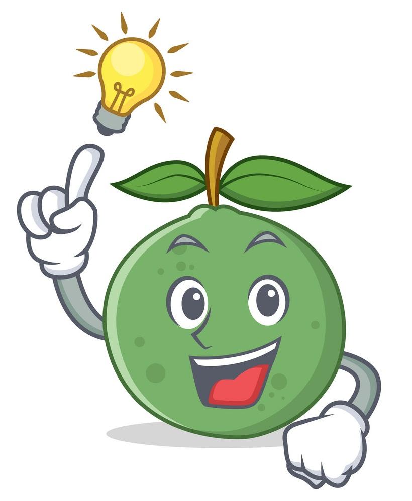 cartoon guava with idea