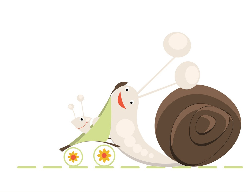cartoon mother and baby snail